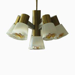 Lampadario vintage in ottone e vetro di Murano, anni '60