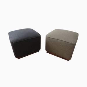 Vintage Wooden & Woolen Poufs, 1920s, Set of 2