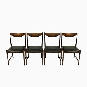 Darby Black Leather Dining Chairs by Torbjørn Afdal for Bruksbo, 1960s, Set of 4