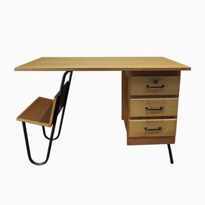 Mid-Century Oak Veneer & Metal Desk, 1950s