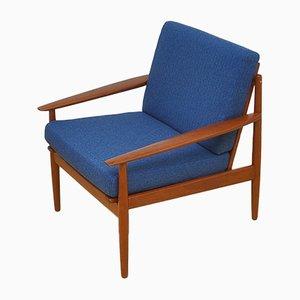 Blau bezogener Vintage Armlehnstuhl von Arne Vodder für Glostrup