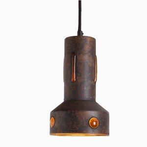 Lampe à Suspension Vintage en Cuivre & Verre