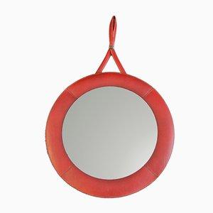 Espejo de pared de cuero rojo, años 60