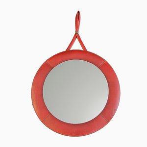 Red Leather Wall Mirror, 1960s