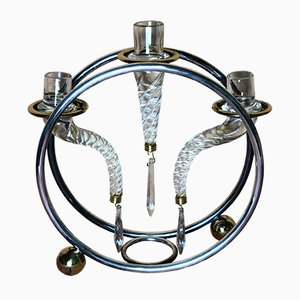 Vintage French Glass & Tubular Steel Candelabrum from Vuillermet, 1970s