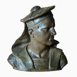 Busto antico Le Marin du Siroco in terracotta di Blanche Laurent Berbudeau