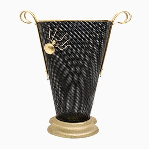 Italian Brass & Black Varnished Metal Umbrella Stand, 1950s