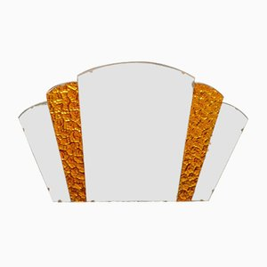Art Deco Amber Glass Fan Wall Mirror, 1920s