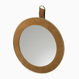 Espejo Medallion vintage de latón y cuero Nubuck, años 50