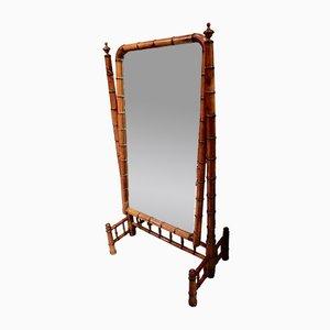 Französischer viktorianischer Cheval-Spiegel in Bambusoptik, 1900er