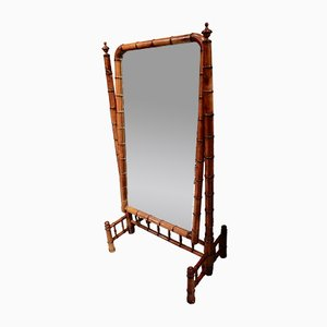 Victorian French Faux Bamboo Cheval Mirror, 1900s