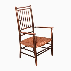 Arts and Crafts Elm & Rush Armchair, 1900s