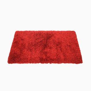 Alfombra danesa Mid-Century de lana roja, años 70