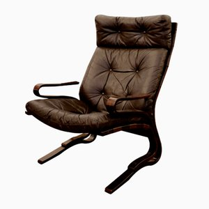 Vintage Scandinavian Leather Lounge Chair by Ingmar Relling