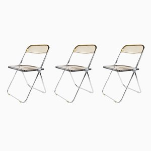 Plia Folding Chairs by Giancarlo Piretti for Castelli, 1960s, Set of 3