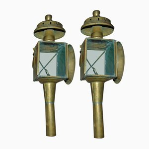 Vintage Pre-War Brass Wall Lamps, Set of 2
