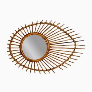 Französischer Vintage Spiegel aus Rattan in Sonnen-Optik
