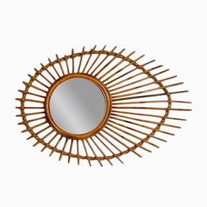 Vintage French Rattan Sun Mirror