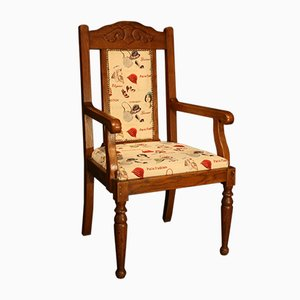 Antique Upholstered Oak Armchair