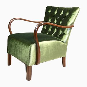 Vintage Green Velvet Chesterfield Armchair