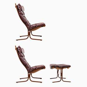 Conjunto de sillones y otomana vintage con respaldo alto de Ingmar Relling para Westnofa. Juego de 2