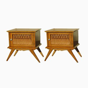 Wood & Wicker Nightstands, 1940s, Set of 2