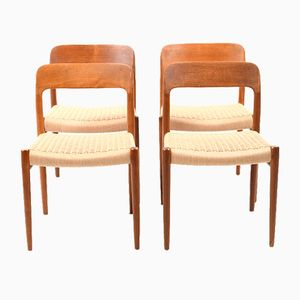 Vintage Model 75 Dining Chairs by Niels O. Moller for J.L. Møllers, Set of 4