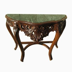 Art Deco Wood & Marble Console, 1920s