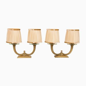 Gilt Bronze Lamps from Genet et Michon, 1930s, Set of 2