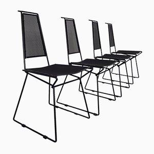Sedie in metallo di Rolf Rahmlow, anni '80, set di 4