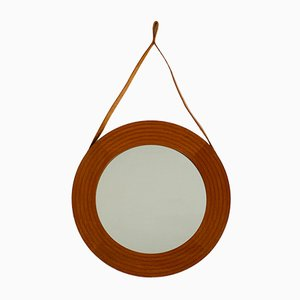 Danish Teak Wall Mirror with Leather Strap, 1960s