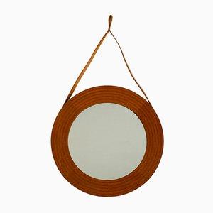 Specchio da parete in teak con cordicella in pelle, Danimarca, anni '60