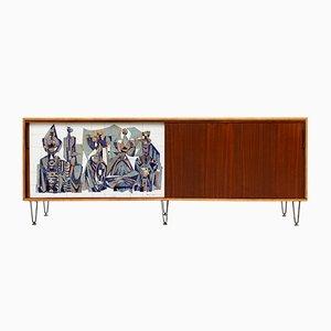 Großes Mid-Century Nr. 308 Sideboard mit Willy Meysman-Keramik von Alfred Hendrickx für Belform