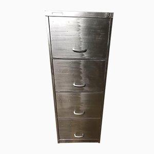 Schedario vintage industriale in metallo sverniciato con quattro cassetti