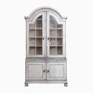 Large Antique Scandinavian Two-Part Vitrine Cabinet