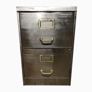 Schedario vintage industriale in metallo sverniciato con due cassetti