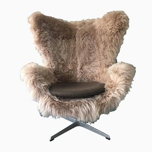 Danish Sheepskin Egg Armchair by Arne Jacobsen for Fritz Hansen, 1980s