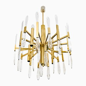 Mid-Century Brass and Glass Chandelier by Gaetano Sciolari, 1960s