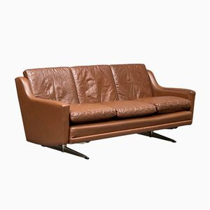 Danish Brown Three-Seater Leather Sofa, 1960s