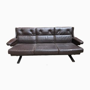 Vintage Scandinavian Leather 3-Seater Sofa