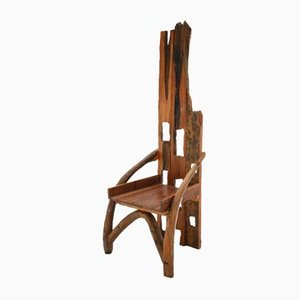 Sculptural French Olive Wood & Walnut Chair, 1940s