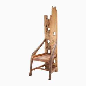 Sculptural French Olive Wood and Walnut Chair, 1940s