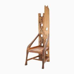 Skulpturaler französischer Stuhl aus Oliven- und Nussholz, 1940er