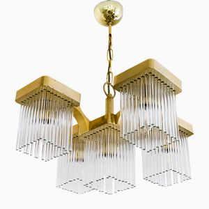 Mid-Century Italian Brass and Glass Chandelier by Gaetano Sciolari, 1960s