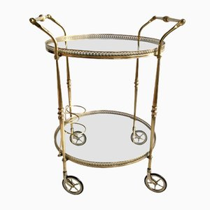 Vintage French Circular Brass Drinks Trolley, 1950s