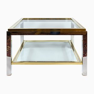 Mid-Century Italian Brass, Chrome and Glass Coffee Table, 1960s