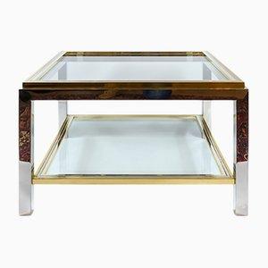 Tavolino da caffè Mid-Century in ottone, metallo cromato e vetro, anni '60