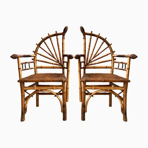 Vintage French Bamboo Chairs, 1920s, Set of 2