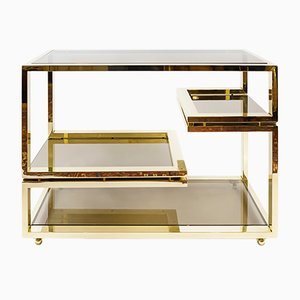 Mid-Century Italian Brass and Glass Serving Table, 1960s