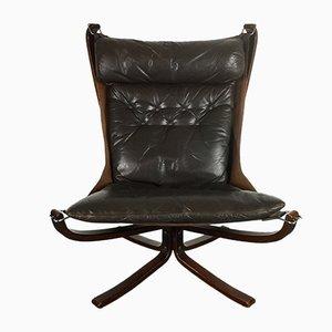 Dunkelbrauner Vintage Falcon Chair mit hoher Rückenlehne von Sigurd Resell